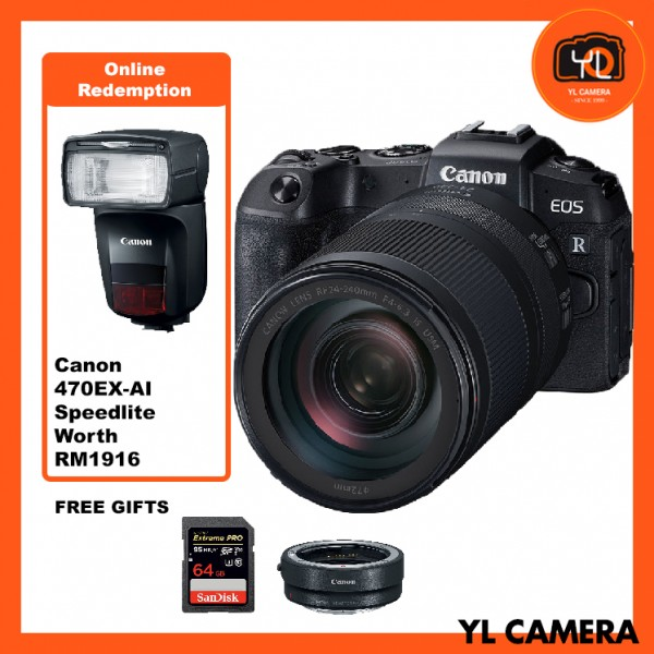 (Promotion) Canon EOS RP + RF 24-240mm F4-6.3 IS USM [Free EF-EOS R Lens Mount Adapter + SanDisk ExtremePRO 64GB SD Card]* Online Redeem 470 EX-AI Speedlite worth RM1916*