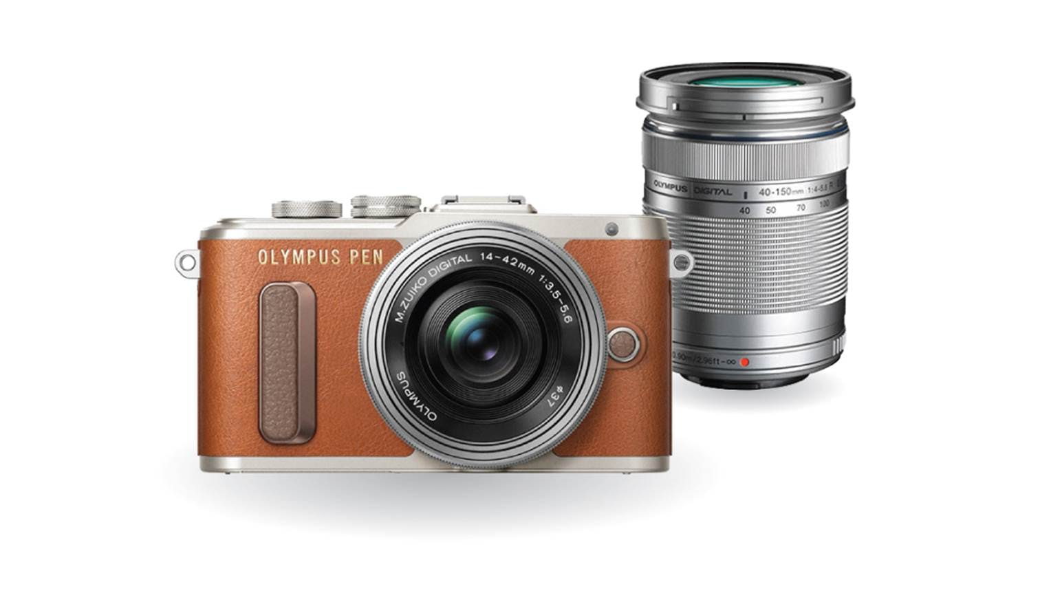Olympus E-PL8 Twin Lens Kit [14-42mm + 40-150mm] (Brown)