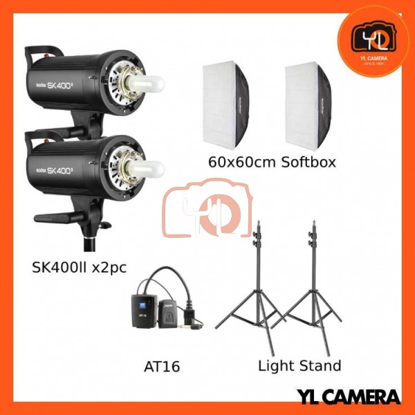 Godox SK400II Studio Flash 2 Lihgt Kit (60x60cm Sfotbox , Light Stand , AT16 Trigger)