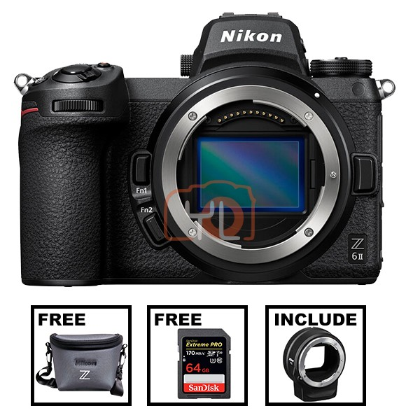 Nikon Z 6 II W/ FTZ Lesn Mount Adapter (Free Camera Bag + SanDisk 64GB ExtremePro SD Card)
