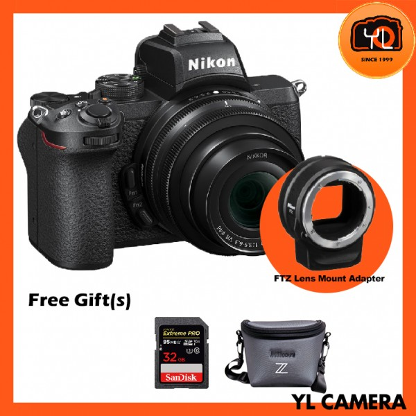 Nikon Z 50 Camera + DX 16-50mm F3.5-6.3 VR + FTZ Mount Adapter (Free 32GB ExtremePro SD Card + Camera Bag)