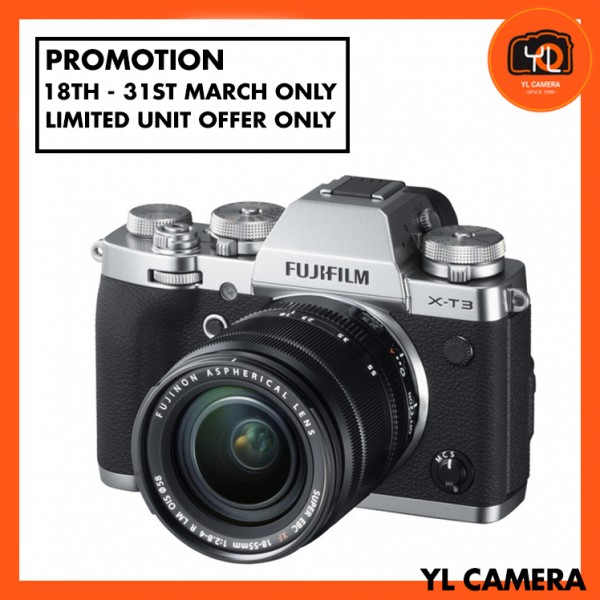 (Promotion) Fujifilm X-T3 + XF 18-55mm f/2.8-4R LM OIS (Silver) [Free 32GB SD Card UHS-II]