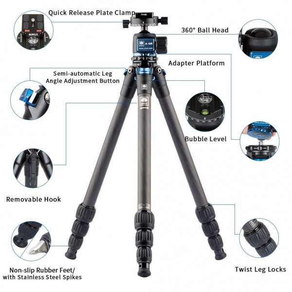 SIRUI AM-254 ProfiLegs Carbon Fiber Medium Tripod with A-10R Ball Head (Black)