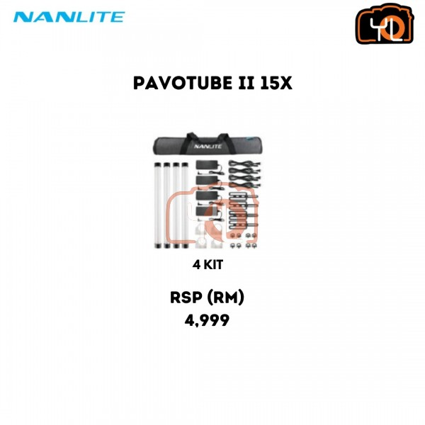 Nanlite PavoTube II 30X RGBWW LED Pixel Tube 4-Light Kit with Internal Battery