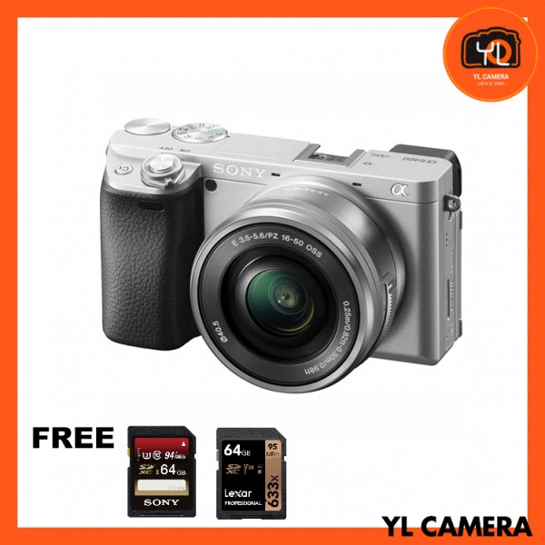 Sony a6400 (Silver) + E PZ 16-50mm F3.5-5.6 OSS [Free Sony 64GB SD Card + Lexar 64GB SD Card]