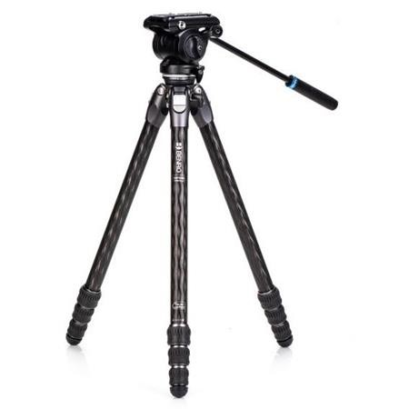 (PRE-ORDER) Benro TTOR24CLVS4PRO Tortoise Columnless with Leveling Base Carbon Fiber Two Series 4-Leg Section Tripod with S4PRO Flat Base Video Head