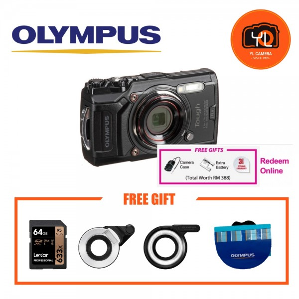 (Promotion) Olympus Tough TG-6 (Black) With FG1 & LD1 Combo [Free LEXAR 64GB SD Card] [Online Redemption Extra Battery + Camera Case]