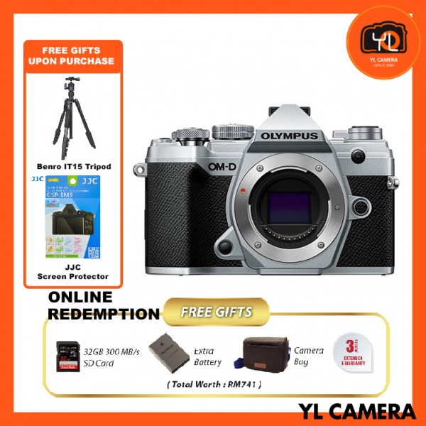(Promotion) Olympus OM-D E-M5 Mark III - Silver (FREE Benro IT-15 Tripod + JJC Screen Protector) [Online Redemption Extra Battery + 32GB SD Card UHS-II + Olympus Bag]