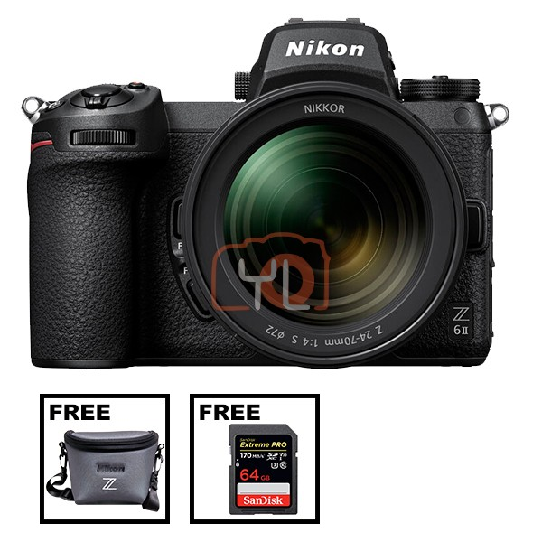 NIkon Z 6 II + Z 24-70mm F4 S (Free Camera Bag + SanDisk 64GB ExtremePro SD Card)