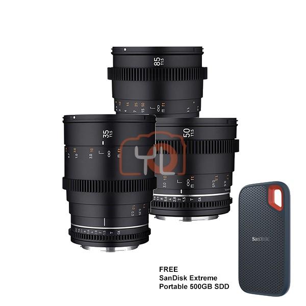 Samyang VDLSR MK2 Video Lens Set (35mm, 50mm, 85mm) - Canon EF