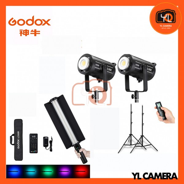 Godox SL200W II LED Video Light 2 Light with LED RGB Light Stick LC500R Stand Combo Set