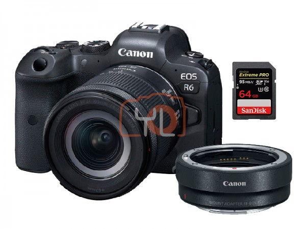 Canon EOS R6 + RF 24-105mm F4-7.1 IS STM W/ Mount Adapter
