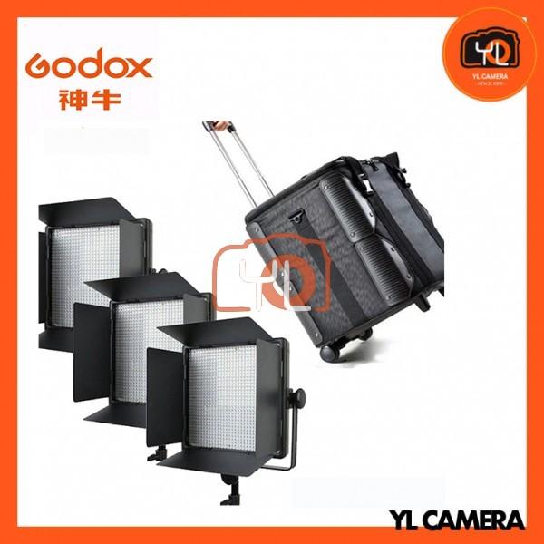 Godox LED1000D II Daylight DMX LED Video Light 3 Light Trolley Case Kit