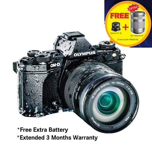 (Merdeka PROMO) Olympus OM-D E-M5 Mark II + 14-150mm F4-5.6 M. Zuiko (Black) [Free SanDisk 64GB Extreme SD Card + Camera Bag]