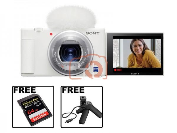 Sony Z-V1 Vlog Digtal Camera (White) W/ VCT-SGR1 Handgrip