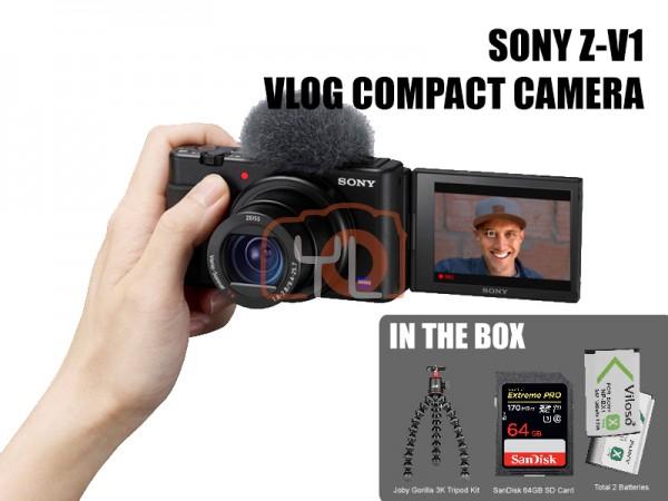 Sony Z-V1 Vlog Digtal Camera (Free Joby Gorillapod 3K Tripod Kit + SanDisk 64GB SD Card 170MB/s + Viloso NP-BX1 Battery)