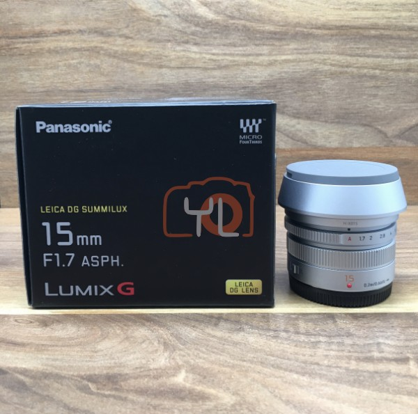 [USED @ YL LOW YAT]-Panasonic 15mm F/1.7 ASPH Lumix G Leica DG Summilux Lens [silver],98% Condition Like New,S/N:HN8JD102680