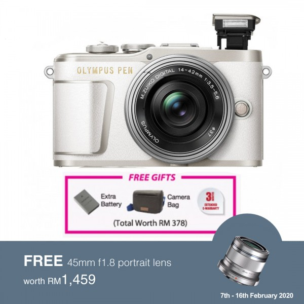 (Flash SALE) Olympus E-PL9 +  M.Zuiko 14-42mm EZ (White) [Free Lexar 32GB 95MB SD Card + Benro ELZ10 Camera Bag]