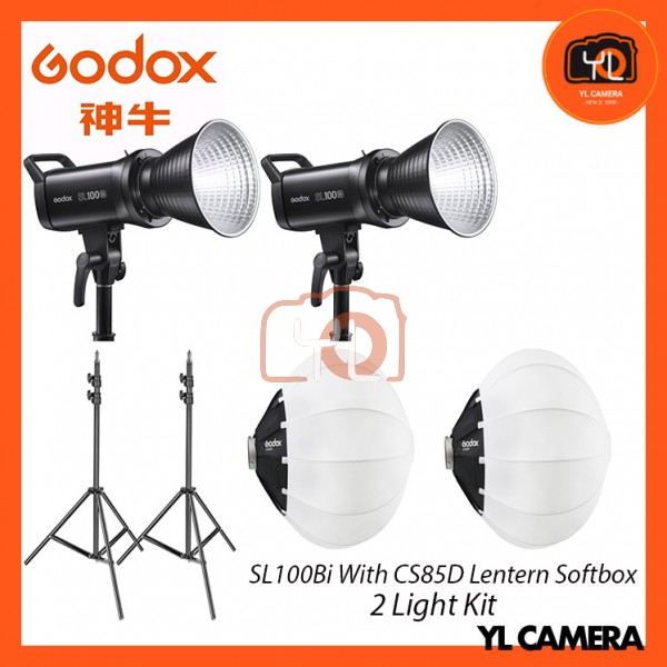 Godox SL100Bi Bi-Color LED With CS-85D Collapsible Lantern Softbox + 280CM Light Stand (2 Light Duo Kit)