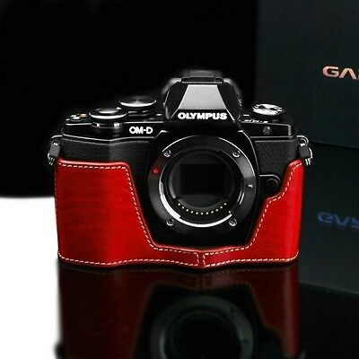 Gariz Genuine Leather XS-CHEM10R Camera Metal Half Case for EM10 Olympus