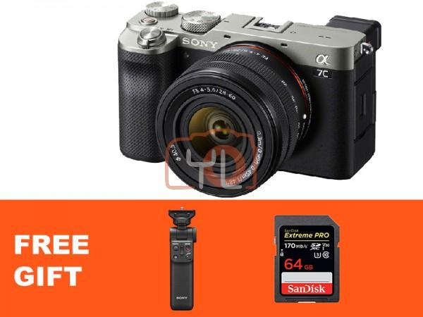 Sony A7C + FE 28-60mm F4-5.6 - Silver (Free 64GB SD Card + Sony Wireless Shooting Grip)