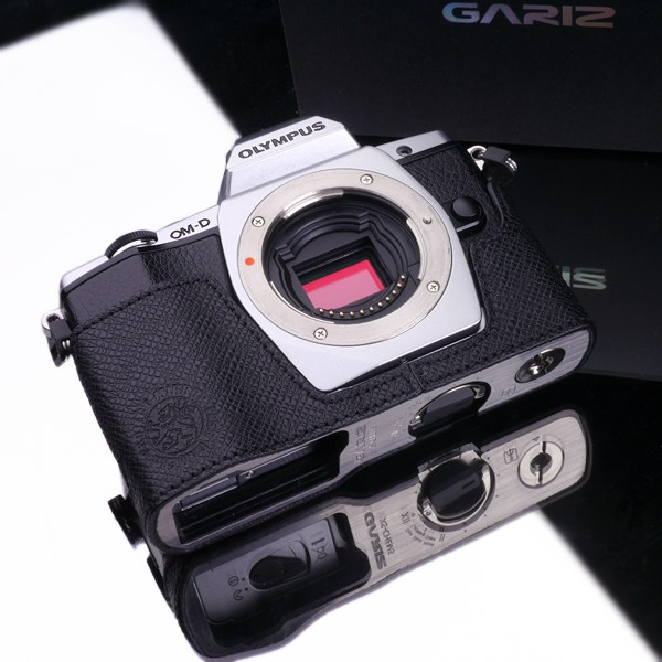 Gariz Genuine Leather XS-CHEM5BS2 Camera Metal Half Case for Olympus OM-D EM5ll EM5 Special Black