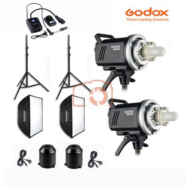 Godox MS300 Monolight Softbox 2 Light Kit (SF FW60x60+J190 Light Stand)