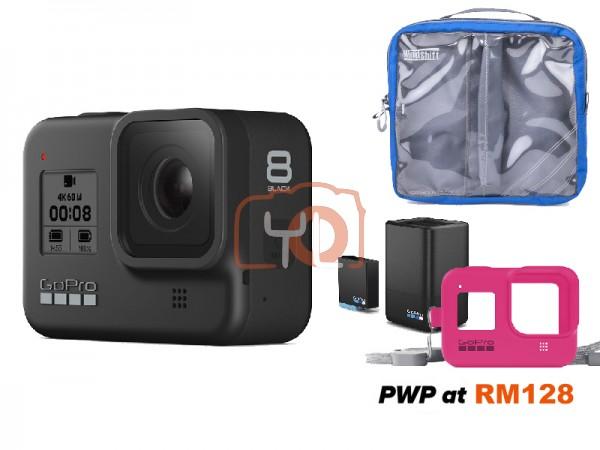 GoPro HERO8 Black [Free Dual Battery Charger & Sleeve + Lanyard: Pink + MindShift GP Mounts M-Size]