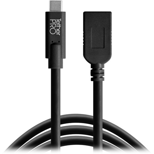 Tether Tools CUCA415-BLK TetherPro USB Type-C to USB Type-A Extension Cable (15', Orange)