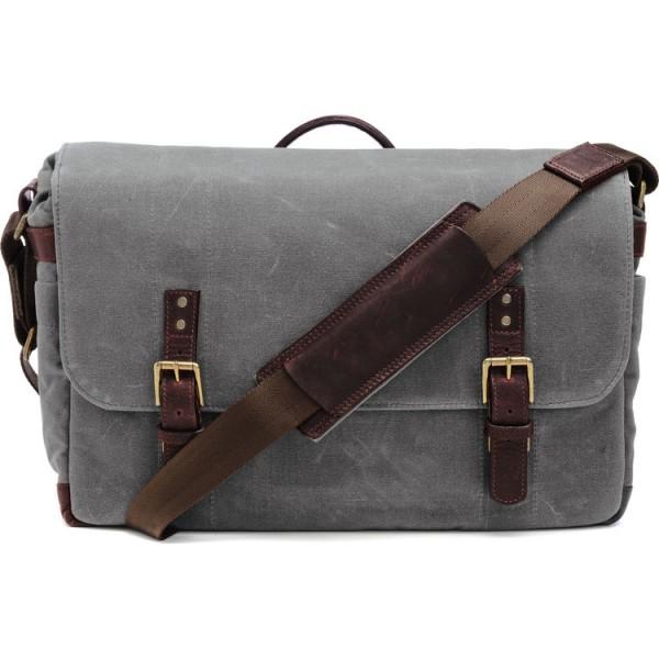 ONA The Union Street Messenger Bag (Smoke, Waxed Canvas & Leather)