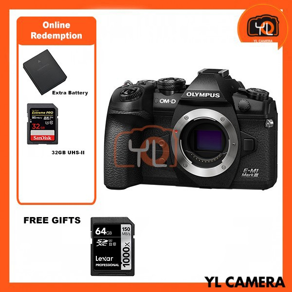 Olympus E-M1 Mark III – Black (FREE Lexar 64GB 150MB SD Card) [Online Redemption Extra Battery + 32GB SD Card UHS-II]