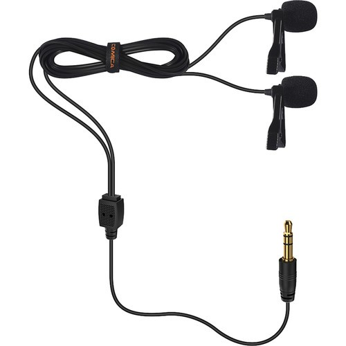 Comica Audio CVM-D02 (2.5M) Dual Omnidirectional Lavalier Microphones for DSLR Cameras, GoPro, and Smartphones