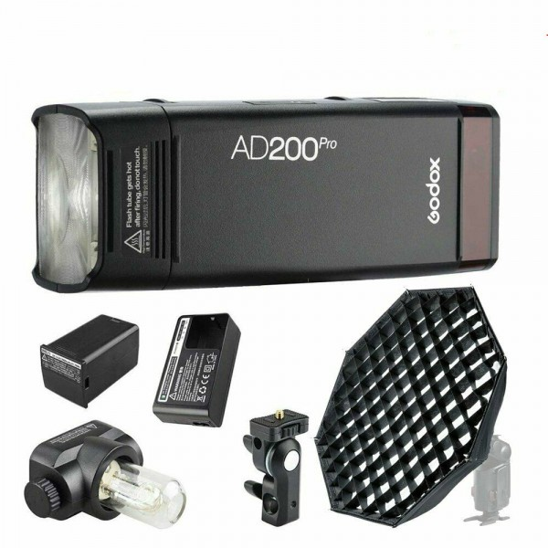Godox AD200Pro TTL Pocket Flash Kit + Godox AD-S7 45cm Umbrella Design Honeycomb Grid Octagonal Softbox AD200Pro Combo Set