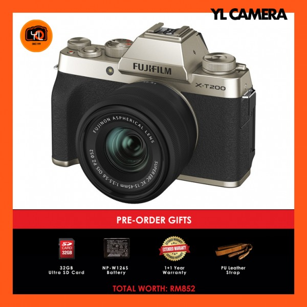 (Pre-Order) Fujifilm X-T200 + XC 15-45mm f/3.5-5.6 OIS PZ (Champagne Gold) [Free 32GB SD Card + Extra Battery + Extra Warranty + Leather Strap)