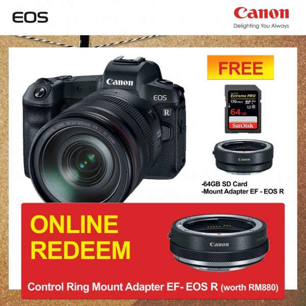 (Great Deals) Canon EOS R + RF 24-105mm F4 L IS USM [Free EF-EOS R Lens Mount Adapter + SanDisk ExtremePRO 64GB SD Card]