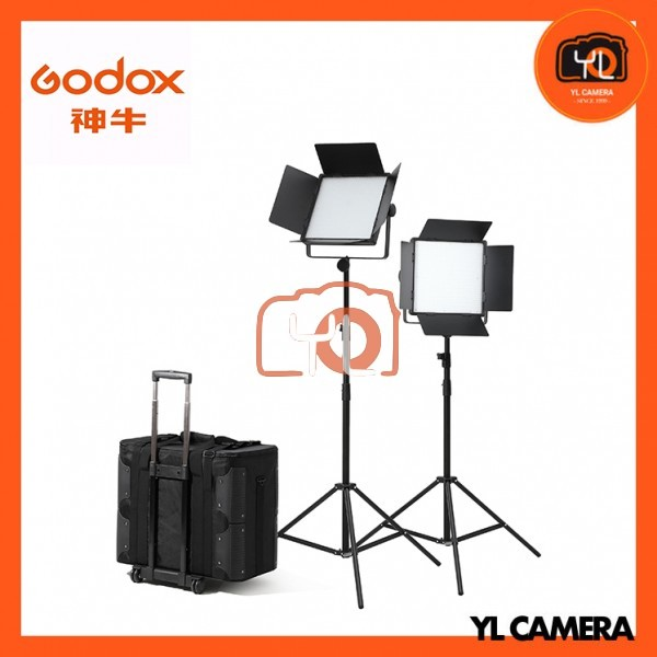 Godox LED1000D II Daylight DMX LED Video Light 2 Light Stand Kit With CB-10 Carrying Trolley Case