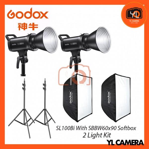 Godox SL100Bi Bi-Color LED With SB-BW60x90 Softbox + 280CM Light Stand (2 Light Duo Kit)
