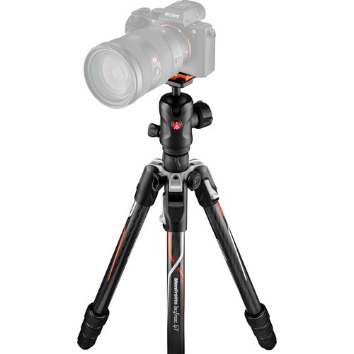 Manfrotto MKBFRTC4GTA-BH Befree GT Travel Carbon Fiber Tripod with 496 Ball Head for Sony a Series Cameras (Black)