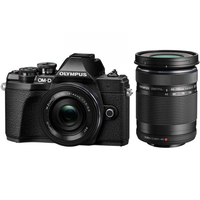 Olympus OM-D E-M10 Mark III Twins Lens Kit [14-42mm + 40-150mm] (Black) [Free Lexar 32GB 95MB SD Card + Benro ELZ10 Camera Bag]