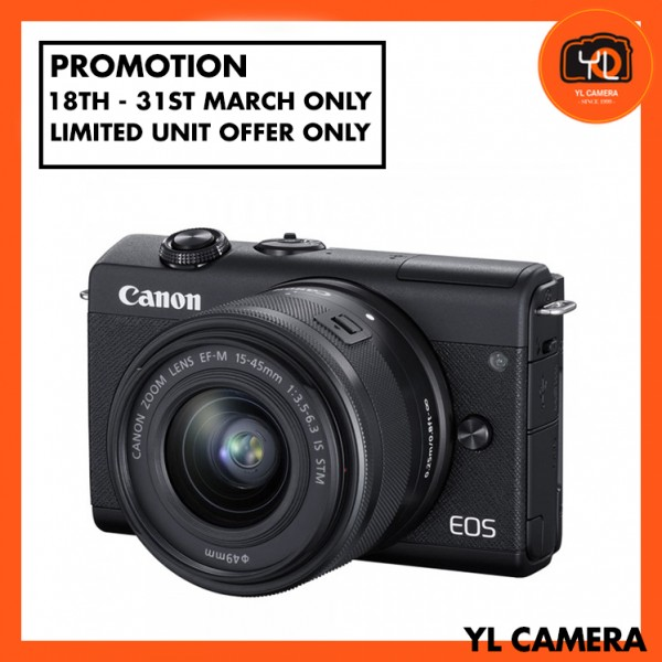 (Promotion) Canon EOS-M100 + EF-M 15-45mm F/3.5-6.3 IS STM (Black) [Free 16GB SD Card + Camera Bag ]